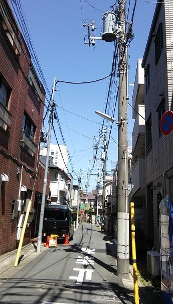 左側:NTT東日本さんの電柱/右側:東電さんの電柱